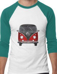 Volkswagen Type 2 - Red and Black Volkswagen T1 Samba Bus on White Men's Baseball ¾ T-Shirt