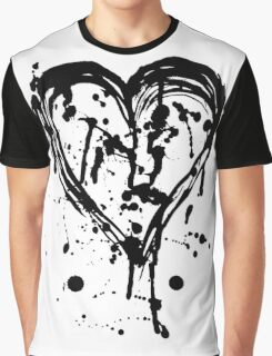 Black ink heart Graphic T-Shirt