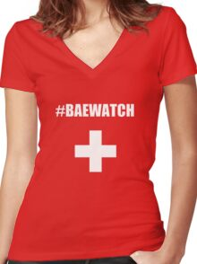 "Lifeguarding Baywatch Parody ""Baewatch"" Women's Fitted V-Neck T-Shirt"