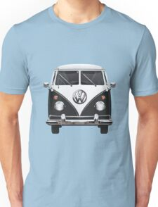 Volkswagen Type 2 - Black and White Volkswagen T1 Samba Bus on Red  Unisex T-Shirt