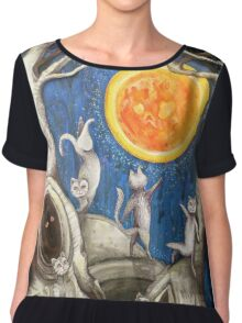 they dance under the light of the moon paper cut Chiffon Top