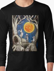 they dance under the light of the moon paper cut Long Sleeve T-Shirt