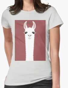 MARSALA LLAMA PORTRAIT Womens Fitted T-Shirt