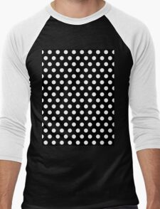 Polkadots Black and White Men's Baseball ¾ T-Shirt