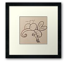 Crazy-Eyed Cartoon Mosquito Framed Print