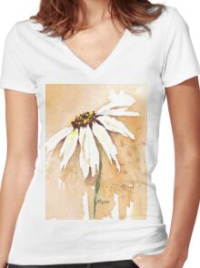 One White Daisy Women's Fitted V-Neck T-Shirt