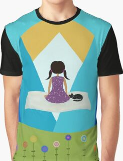 Girl and Black Cat - Magic Carpet Graphic T-Shirt