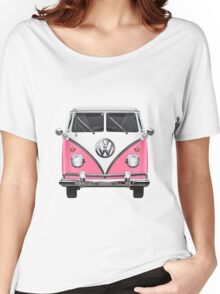 Volkswagen Type 2 - Pink and White Volkswagen T1 Samba Bus on Yellow  Women's Relaxed Fit T-Shirt