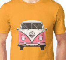 Volkswagen Type 2 - Pink and White Volkswagen T1 Samba Bus on Yellow  Unisex T-Shirt