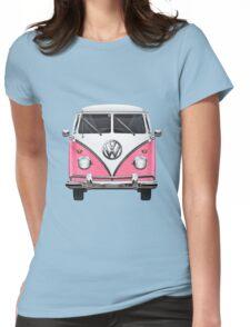 Volkswagen Type 2 - Pink and White Volkswagen T1 Samba Bus on Yellow  Womens Fitted T-Shirt