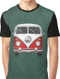 Volkswagen Type 2 - Red and White Volkswagen T1 Samba Bus over Green Canvas  Graphic T-Shirt