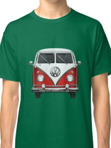 Volkswagen Type 2 - Red and White Volkswagen T1 Samba Bus over Green Canvas  Classic T-Shirt