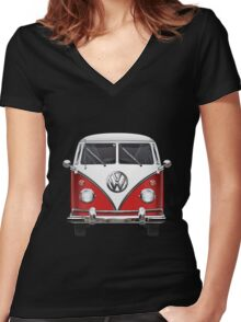 Volkswagen Type 2 - Red and White Volkswagen T1 Samba Bus over Green Canvas  Women's Fitted V-Neck T-Shirt