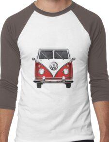 Volkswagen Type 2 - Red and White Volkswagen T1 Samba Bus over Green Canvas  Men's Baseball ¾ T-Shirt