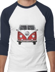 Volkswagen Type 2 - Red and White Volkswagen T1 Samba Bus over Green Canvas  Men's Baseball ¾ T-Shirt