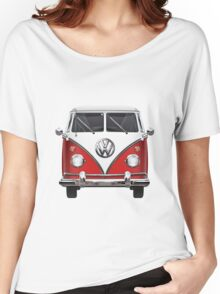 Volkswagen Type 2 - Red and White Volkswagen T1 Samba Bus over Green Canvas  Women's Relaxed Fit T-Shirt