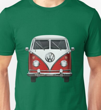 Volkswagen Type 2 - Red and White Volkswagen T1 Samba Bus over Green Canvas  Unisex T-Shirt