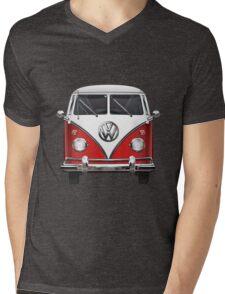 Volkswagen Type 2 - Red and White Volkswagen T1 Samba Bus over Green Canvas  Mens V-Neck T-Shirt