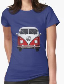 Volkswagen Type 2 - Red and White Volkswagen T1 Samba Bus over Green Canvas  Womens Fitted T-Shirt