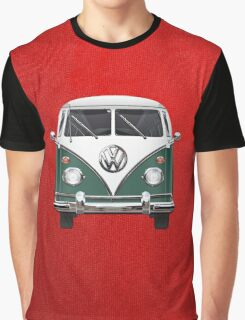 Volkswagen Type 2 - Green and White Volkswagen T1 Samba Bus over Red Canvas Graphic T-Shirt