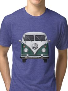 Volkswagen Type 2 - Green and White Volkswagen T1 Samba Bus over Red Canvas Tri-blend T-Shirt