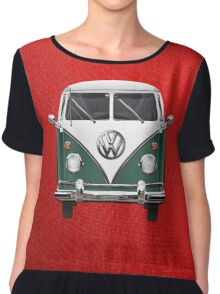 Volkswagen Type 2 - Green and White Volkswagen T1 Samba Bus over Red Canvas Chiffon Top