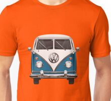 Volkswagen Type 2 - Blue and White Volkswagen T1 Samba Bus over Orange Canvas Unisex T-Shirt