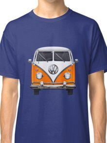 Volkswagen Type - Orange and White Volkswagen T1 Samba Bus over Blue Canvas  Classic T-Shirt