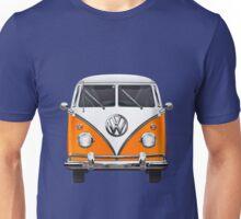 Volkswagen Type - Orange and White Volkswagen T1 Samba Bus over Blue Canvas  Unisex T-Shirt