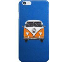 Volkswagen Type - Orange and White Volkswagen T1 Samba Bus over Blue Canvas  iPhone Case/Skin