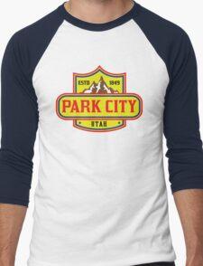 PARK CITY UTAH Skiing Ski Mountain Mountains Snowboard Men's Baseball ¾ T-Shirt