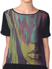 Judgement Figurative Abstract Portrait Chiffon Top