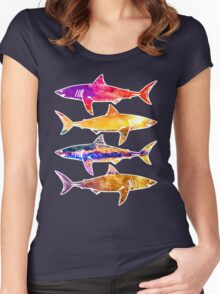 Watercolor Sunset Sharks Women's Fitted Scoop T-Shirt