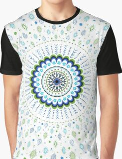 Blue Green White Mandala and Leaves Design Graphic T-Shirt