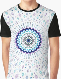 Blue Purple White Mandala and Leaves Design Graphic T-Shirt