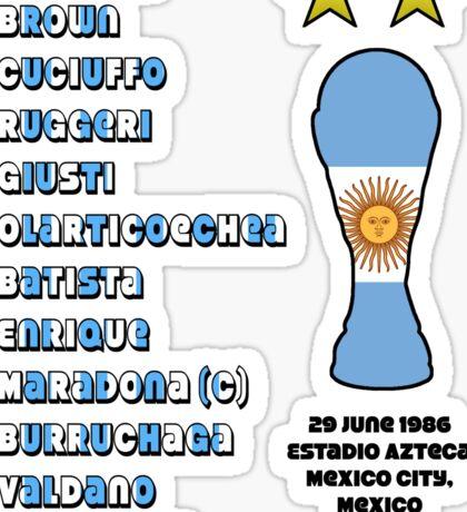 Argentina 1986 World Cup Final Winners Sticker
