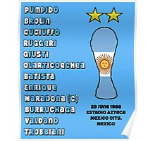 Argentina 1986 World Cup Final Winners Poster