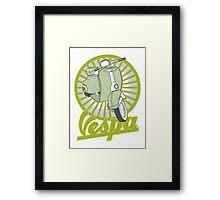 Retro Vespa Lime Framed Print