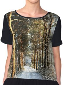 Forest Snow Scene Chiffon Top