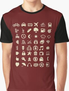 Cool Traveller T-shirt - Iconspeak T-shirt - 48 Travel Icons Graphic T-Shirt