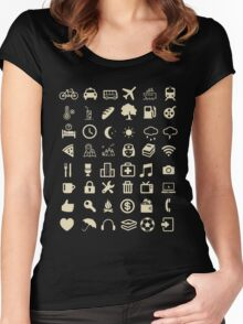 Cool Traveller T-shirt - Iconspeak T-shirt - 48 Travel Icons Women's Fitted Scoop T-Shirt