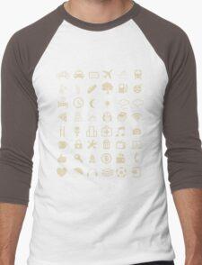 Cool Traveller T-shirt - Iconspeak T-shirt - 48 Travel Icons Men's Baseball ¾ T-Shirt