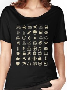 Cool Traveller T-shirt - Iconspeak T-shirt - 48 Travel Icons Women's Relaxed Fit T-Shirt