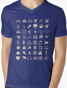 Cool Traveller T-shirt - Iconspeak T-shirt - 48 Travel Icons Mens V-Neck T-Shirt