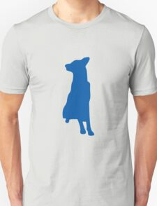 Blue sitting dog silhouette Unisex T-Shirt