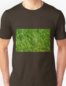 Green grass pattern with soap bubble. Unisex T-Shirt
