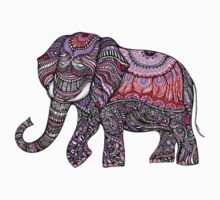 zentangle elephant on the light orchid background Kids Tee