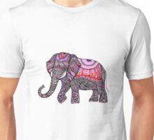 zentangle elephant on the light orchid background Unisex T-Shirt