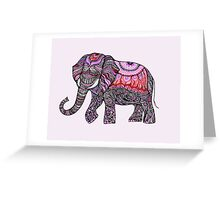 zentangle elephant on the light orchid background Greeting Card