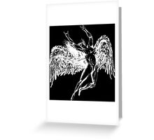 ICARUS THROWS THE HORNS - solid white NEW DESIGN Greeting Card